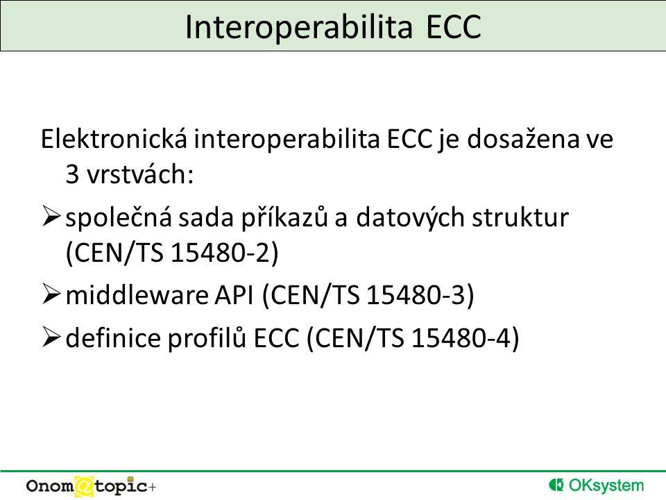 Interoperabilita ECC Elektronická interoperabilita ECC je dosažena ve 3 vrstvách:  společná sada příkazů a datových struktur (CEN/TS 15480-2)  middleware API (CEN/TS 15480-3)  definice profilů ECC (CEN/TS 15480-4)