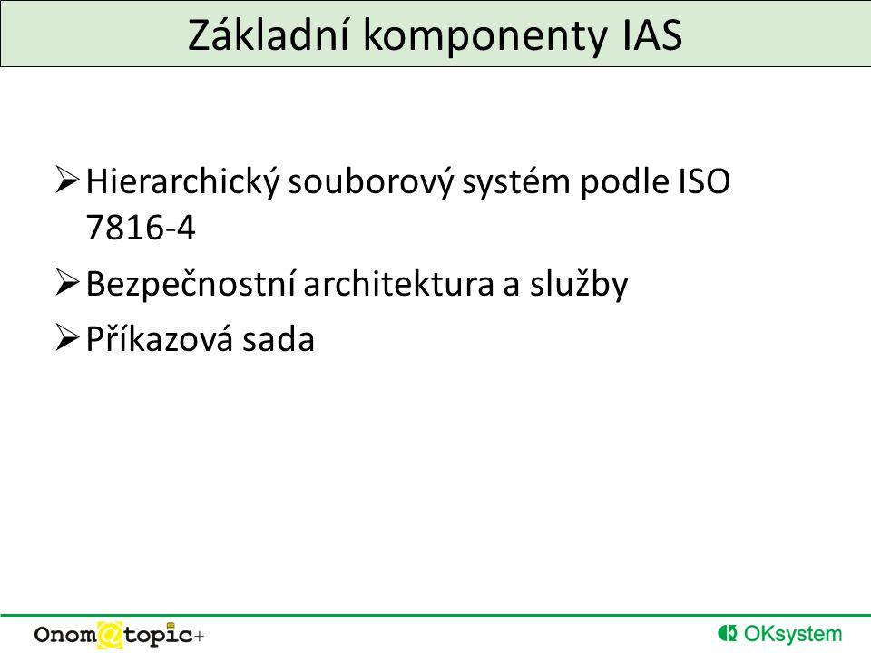 Základní komponenty IAS  Hierarchický souborový systém podle ISO 7816-4  Bezpečnostní architektura a služby  Příkazová sada
