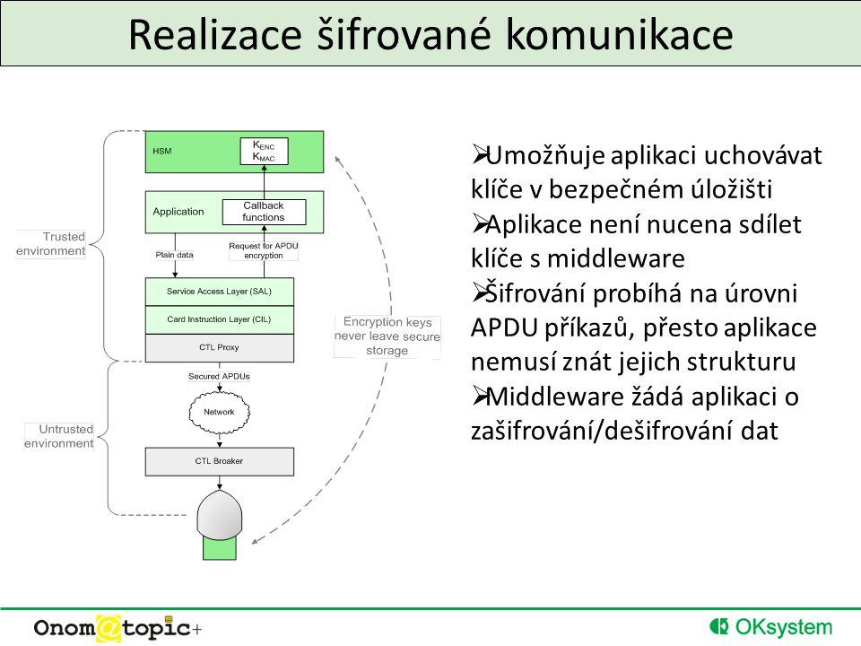 Realizace šifrované komunikace  Umožňuje aplikaci uchovávat klíče v bezpečném úložišti  Aplikace není nucena sdílet klíče s middleware  Šifrování probíhá na úrovni APDU příkazů, přesto aplikace nemusí znát jejich strukturu  Middleware žádá aplikaci o zašifrování/dešifrování dat