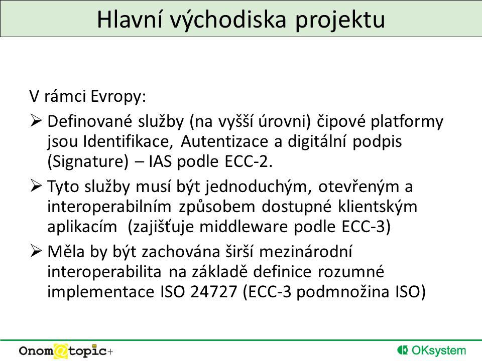 Hlavní východiska projektu V rámci Evropy:  Definované služby (na vyšší úrovni) čipové platformy jsou Identifikace, Autentizace a digitální podpis (Signature) – IAS podle ECC-2.