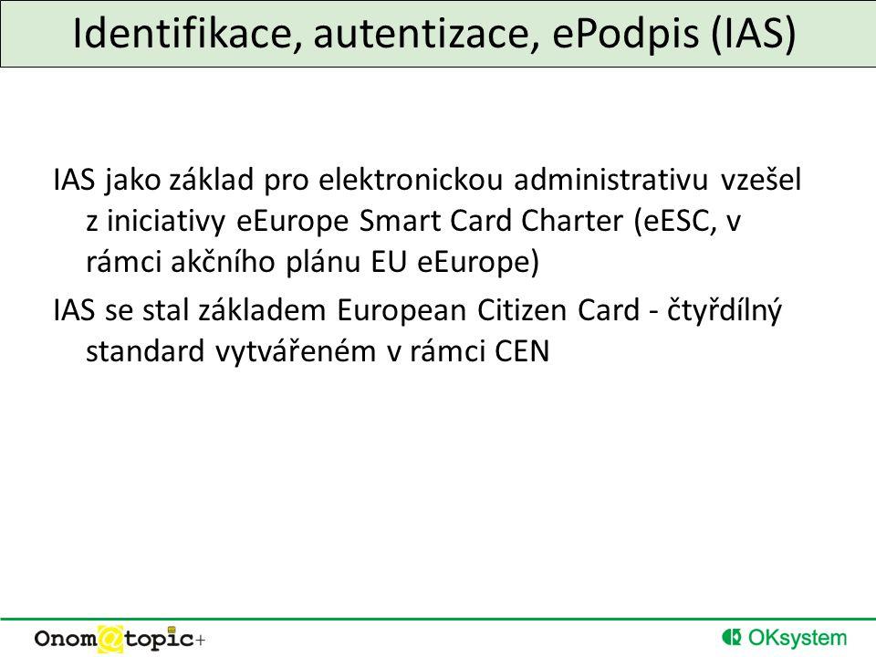 Identifikace, autentizace, ePodpis (IAS) IAS jako základ pro elektronickou administrativu vzešel z iniciativy eEurope Smart Card Charter (eESC, v rámci akčního plánu EU eEurope) IAS se stal základem European Citizen Card - čtyřdílný standard vytvářeném v rámci CEN