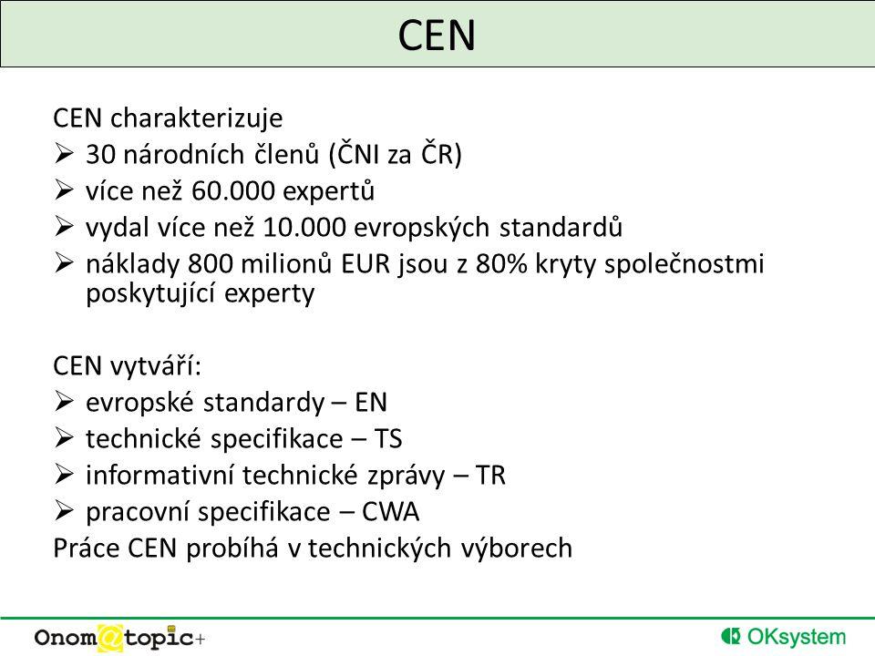 CEN CEN charakterizuje  30 národních členů (ČNI za ČR)  více než 60.000 expertů  vydal více než 10.000 evropských standardů  náklady 800 milionů EUR jsou z 80% kryty společnostmi poskytující experty CEN vytváří:  evropské standardy – EN  technické specifikace – TS  informativní technické zprávy – TR  pracovní specifikace – CWA Práce CEN probíhá v technických výborech