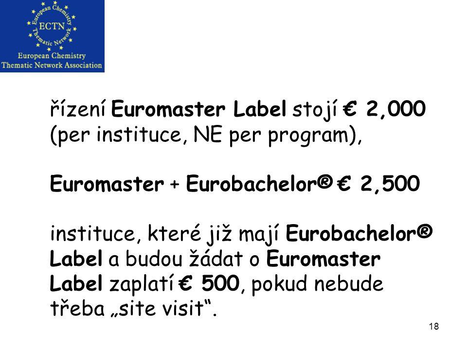 """18 řízení Euromaster Label stojí € 2,000 (per instituce, NE per program), Euromaster + Eurobachelor® € 2,500 instituce, které již mají Eurobachelor® Label a budou žádat o Euromaster Label zaplatí € 500, pokud nebude třeba """"site visit ."""