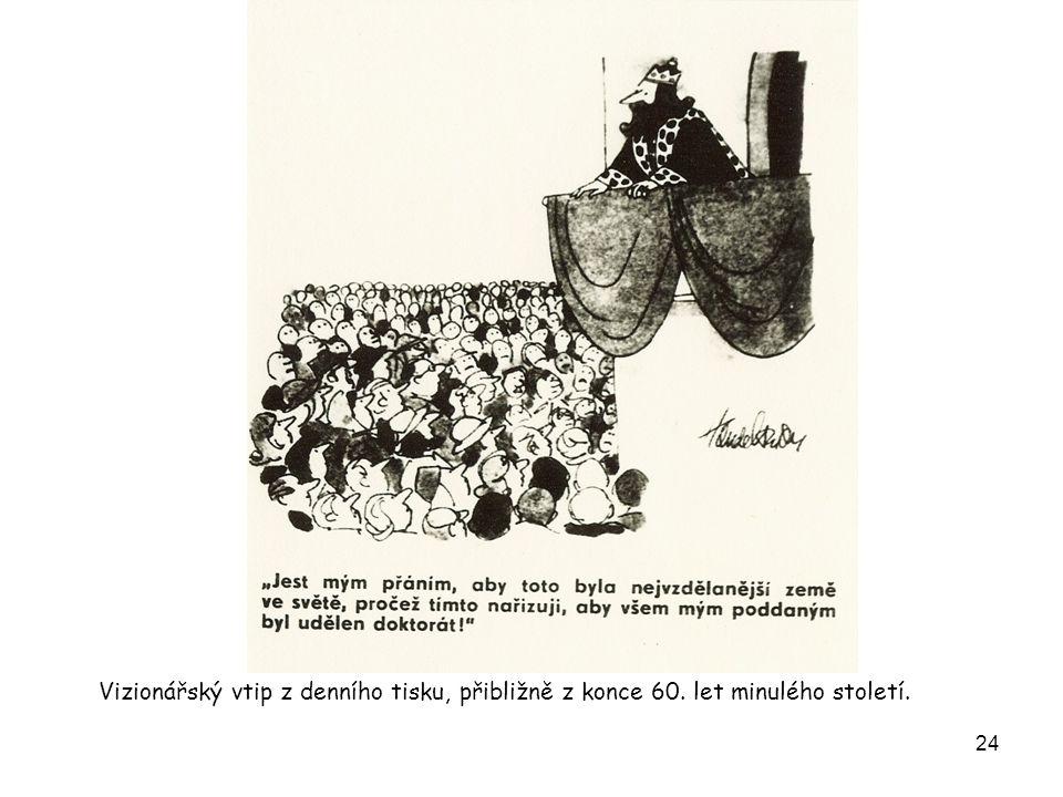 24 Vizionářský vtip z denního tisku, přibližně z konce 60. let minulého století.