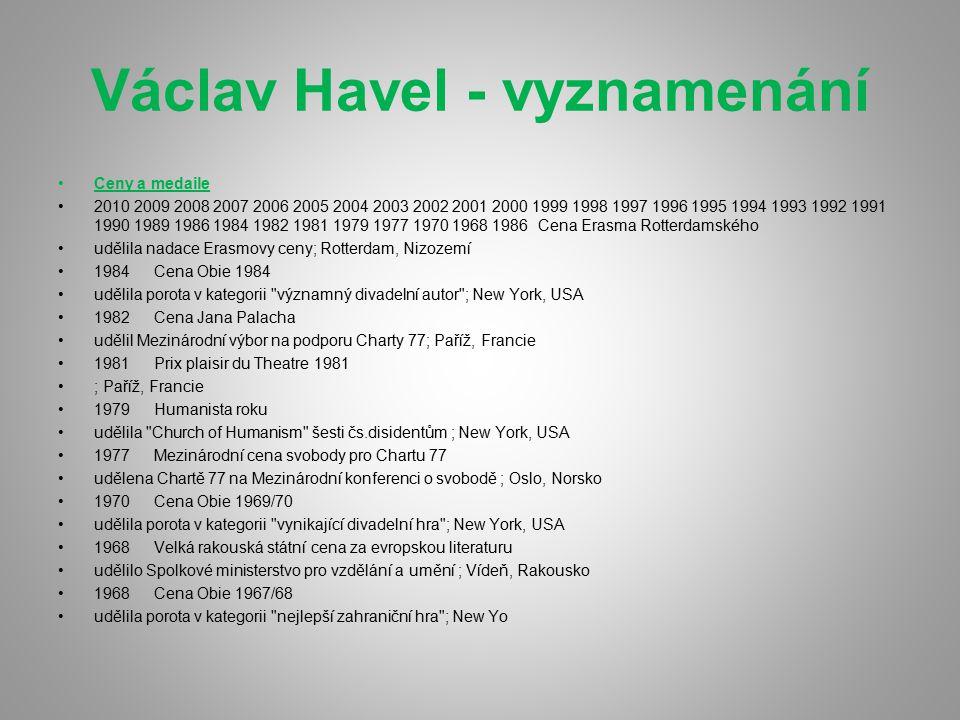 Václav Havel - vyznamenání Ceny a medaile 2010 2009 2008 2007 2006 2005 2004 2003 2002 2001 2000 1999 1998 1997 1996 1995 1994 1993 1992 1991 1990 198