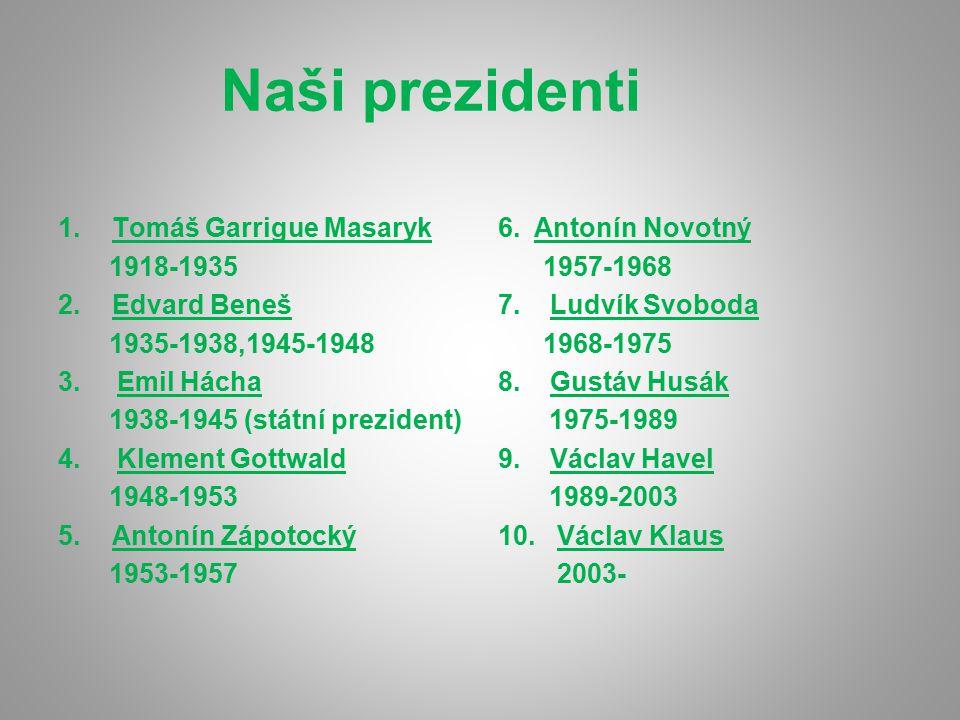 Naši prezidenti 1.Tomáš Garrigue Masaryk 1918-1935 2.Edvard Beneš 1935-1938,1945-1948 3. Emil Hácha 1938-1945 (státní prezident) 4. Klement Gottwald 1