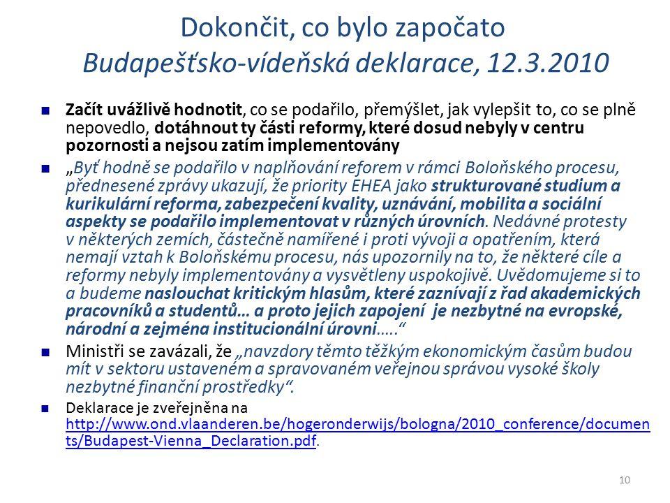 """10 Dokončit, co bylo započato Budapešťsko-vídeňská deklarace, 12.3.2010 Začít uvážlivě hodnotit, co se podařilo, přemýšlet, jak vylepšit to, co se plně nepovedlo, dotáhnout ty části reformy, které dosud nebyly v centru pozornosti a nejsou zatím implementovány """"Byť hodně se podařilo v naplňování reforem v rámci Boloňského procesu, přednesené zprávy ukazují, že priority EHEA jako strukturované studium a kurikulární reforma, zabezpečení kvality, uznávání, mobilita a sociální aspekty se podařilo implementovat v různých úrovních."""