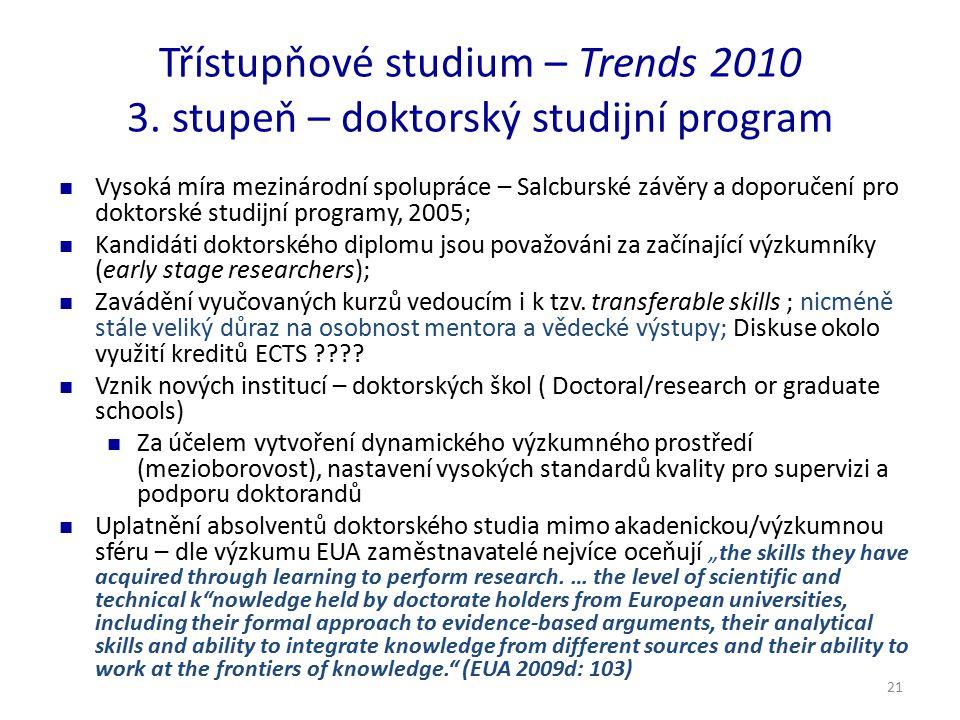 21 Třístupňové studium – Trends 2010 3. stupeň – doktorský studijní program Vysoká míra mezinárodní spolupráce – Salcburské závěry a doporučení pro do