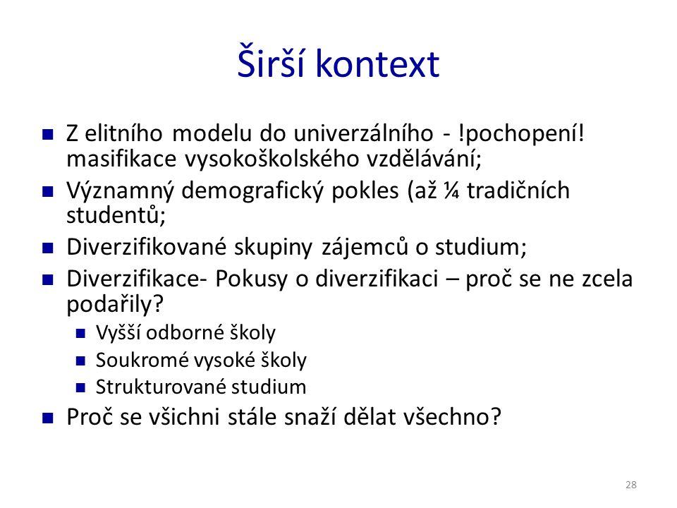 28 Širší kontext Z elitního modelu do univerzálního - !pochopení.