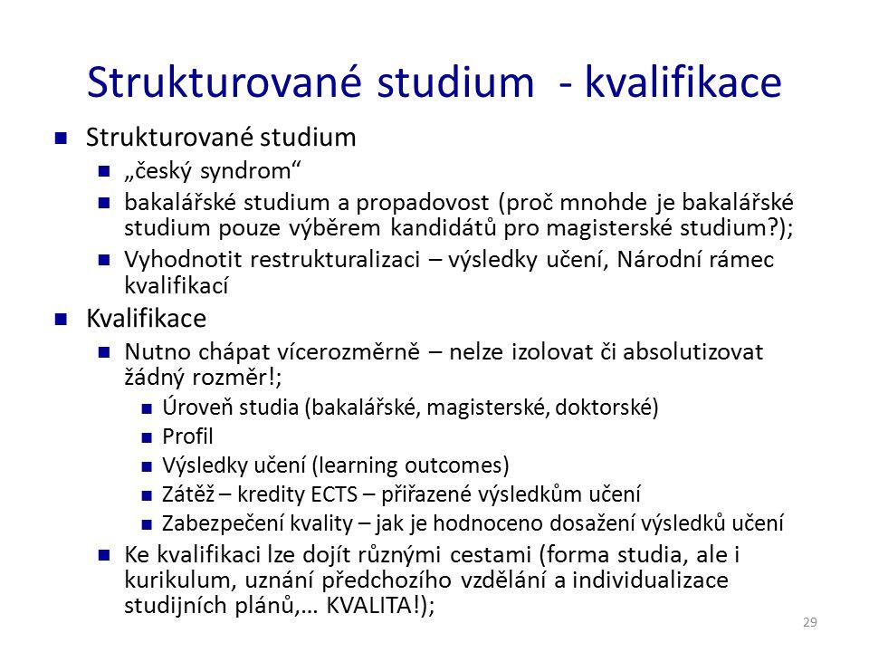 """29 Strukturované studium - kvalifikace Strukturované studium """"český syndrom"""" bakalářské studium a propadovost (proč mnohde je bakalářské studium pouze"""
