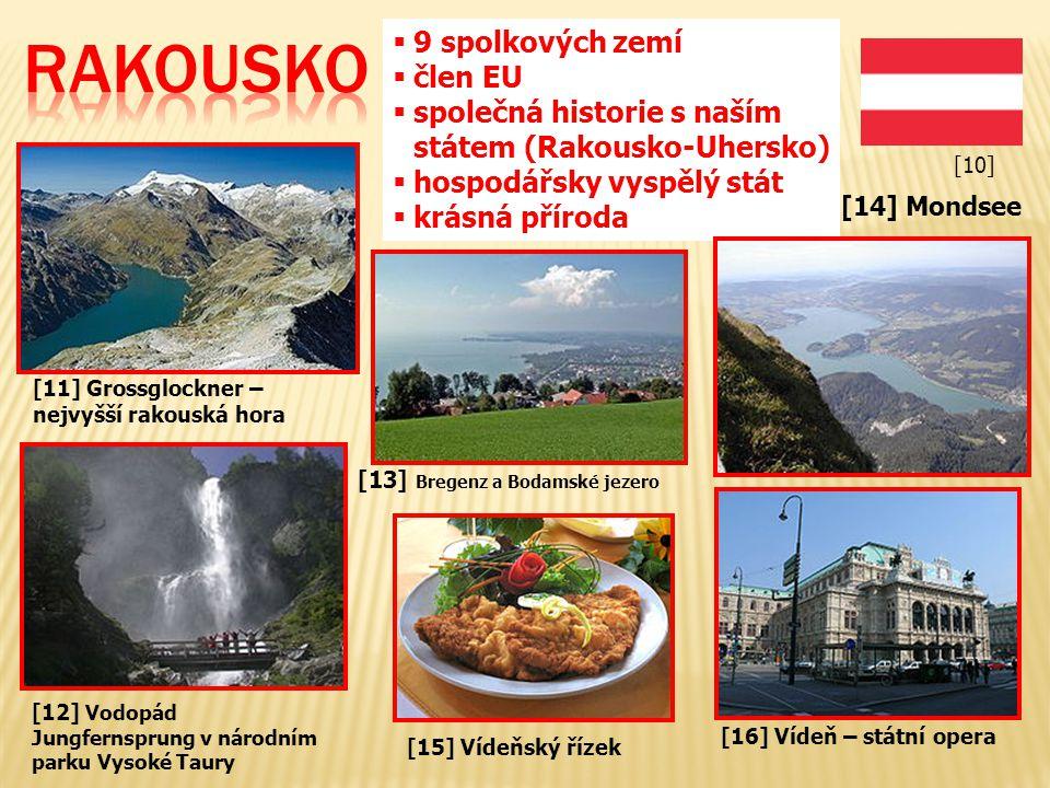 [11] Grossglockner – nejvyšší rakouská hora [12] Vodopád Jungfernsprung v národním parku Vysoké Taury  9 spolkových zemí  člen EU  společná histori