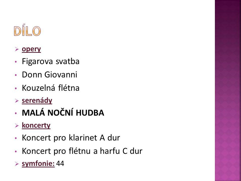  opery Figarova svatba Donn Giovanni Kouzelná flétna  serenády MALÁ NOČNÍ HUDBA  koncerty Koncert pro klarinet A dur Koncert pro flétnu a harfu C dur  symfonie: 44