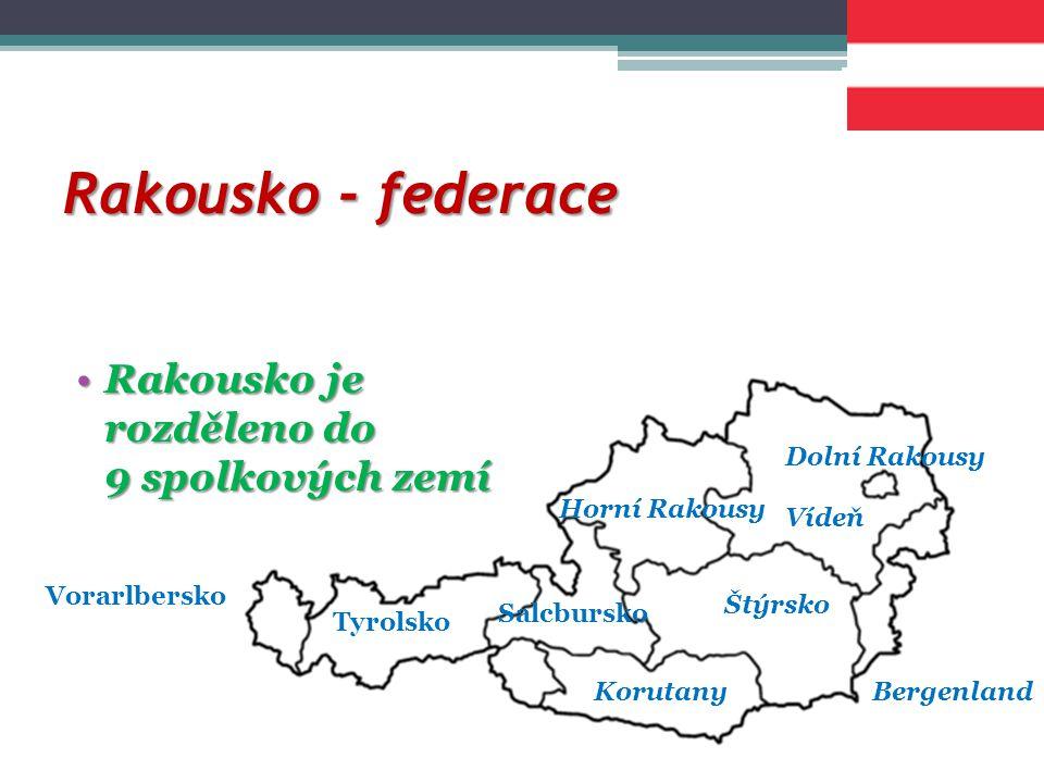 Rakousko - federace Rakousko je rozděleno do 9 spolkových zemíRakousko je rozděleno do 9 spolkových zemí Dolní Rakousy Vídeň BergenlandKorutany Štýrsko Horní Rakousy Tyrolsko Vorarlbersko Salcbursko