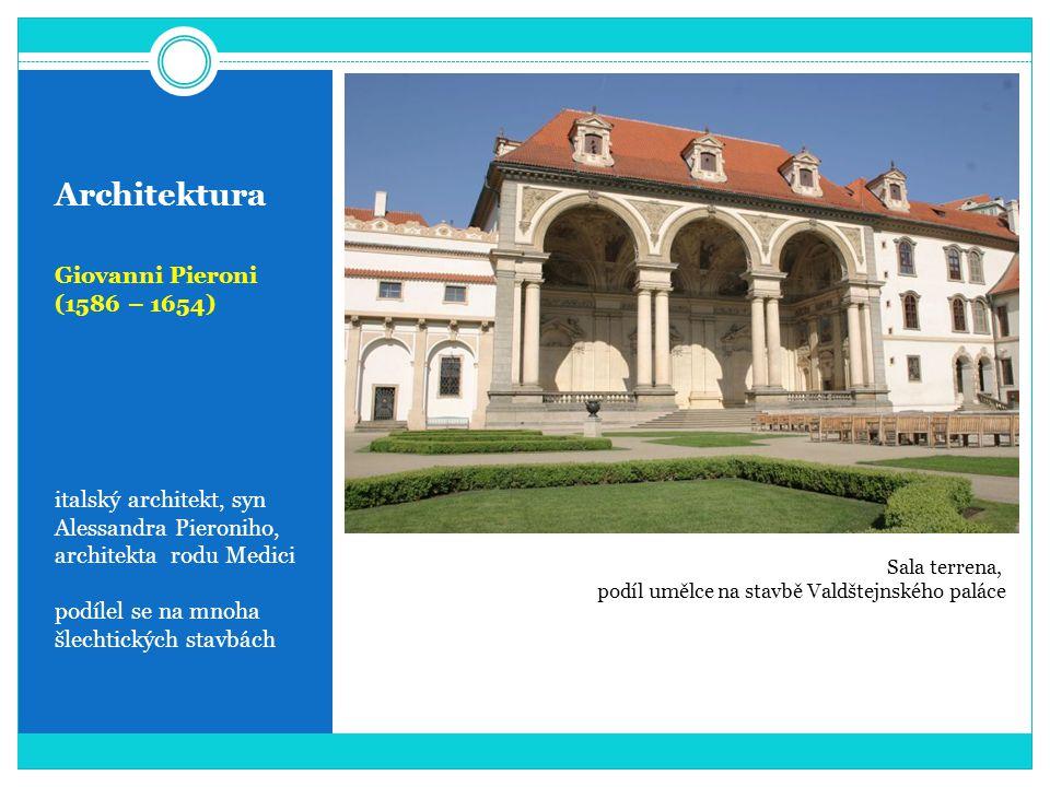 Architektura Giovanni Pieroni (1586 – 1654) italský architekt, syn Alessandra Pieroniho, architekta rodu Medici podílel se na mnoha šlechtických stavbách Sala terrena, podíl umělce na stavbě Valdštejnského paláce