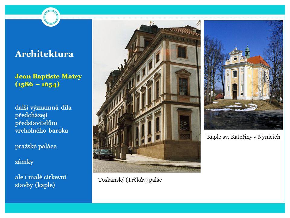 Architektura Jean Baptiste Matey (1586 – 1654) další významná díla předcházejí představitelům vrcholného baroka pražské paláce zámky ale i malé církevní stavby (kaple) Toskánský (Trčkův) palác Kaple sv.