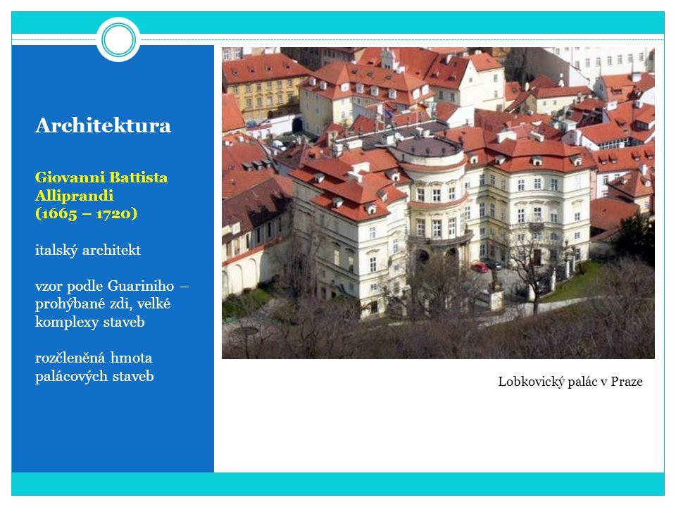 Architektura Giovanni Battista Alliprandi (1665 – 1720) italský architekt vzor podle Guariniho – prohýbané zdi, velké komplexy staveb rozčleněná hmota palácových staveb Lobkovický palác v Praze