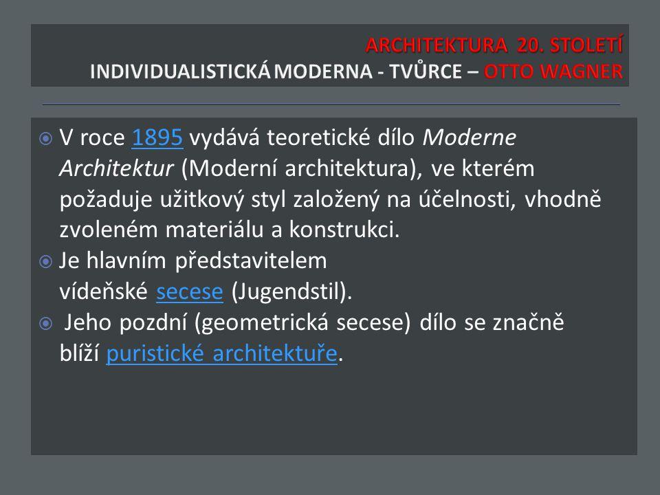  V roce 1895 vydává teoretické dílo Moderne Architektur (Moderní architektura), ve kterém požaduje užitkový styl založený na účelnosti, vhodně zvoleném materiálu a konstrukci.1895  Je hlavním představitelem vídeňské secese (Jugendstil).secese  Jeho pozdní (geometrická secese) dílo se značně blíží puristické architektuře.puristické architektuře