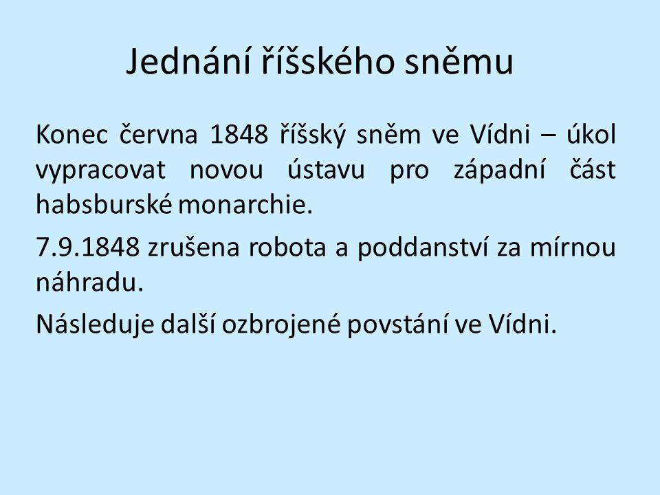 Vídeňské říjnové povstání Vyvolaly ho uherské události Maďaři chtěli vytvořit vlastní ústavu a tím vytvořit velké Uhersko.