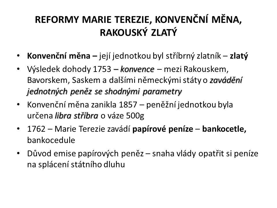 REFORMY MARIE TEREZIE, KONVENČNÍ MĚNA, RAKOUSKÝ ZLATÝ Konvenční měna – její jednotkou byl stříbrný zlatník – zlatý – konvence zavádění jednotných peně