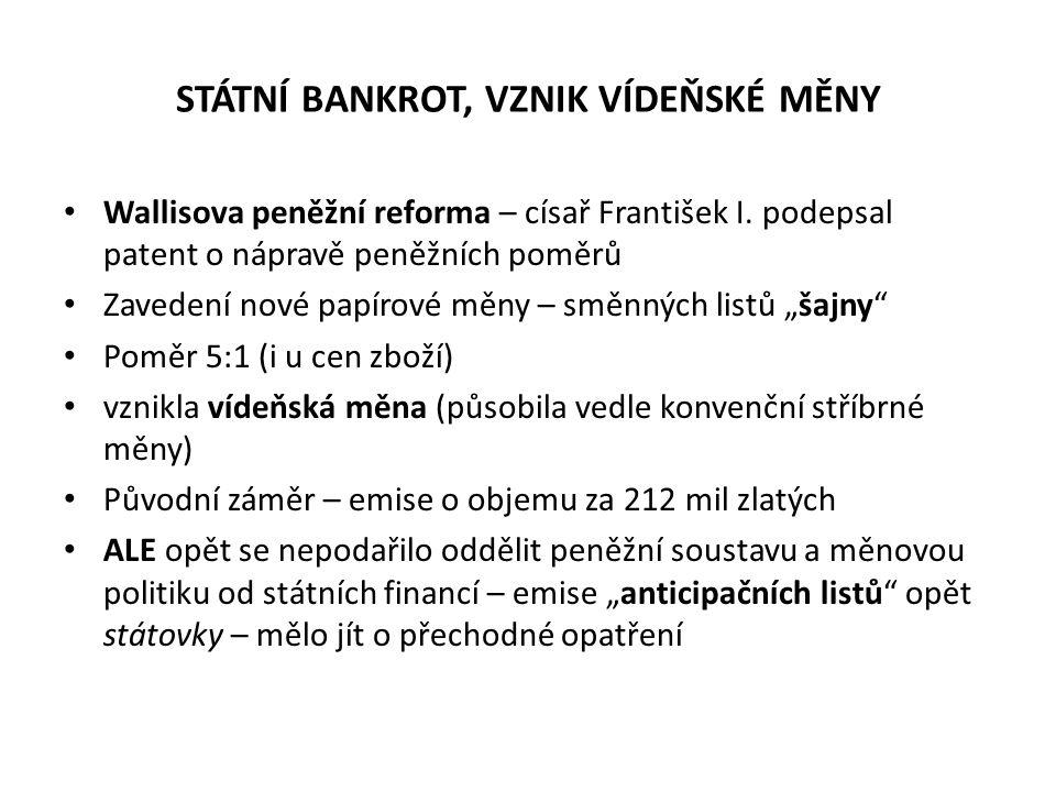 STÁTNÍ BANKROT, VZNIK VÍDEŇSKÉ MĚNY Wallisova peněžní reforma – císař František I. podepsal patent o nápravě peněžních poměrů Zavedení nové papírové m