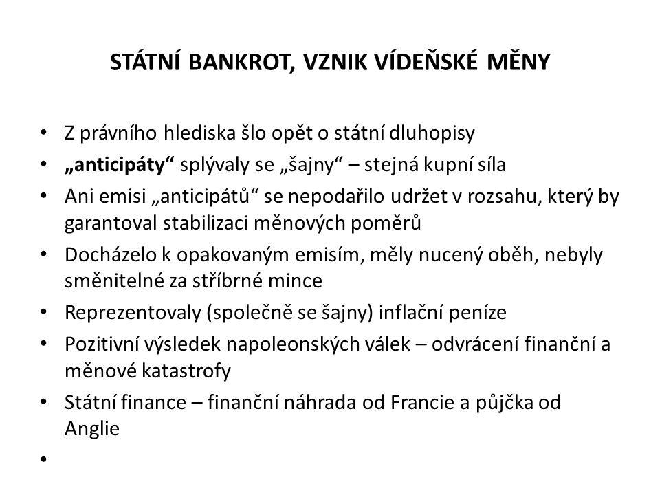 """STÁTNÍ BANKROT, VZNIK VÍDEŇSKÉ MĚNY Z právního hlediska šlo opět o státní dluhopisy """"anticipáty"""" splývaly se """"šajny"""" – stejná kupní síla Ani emisi """"an"""