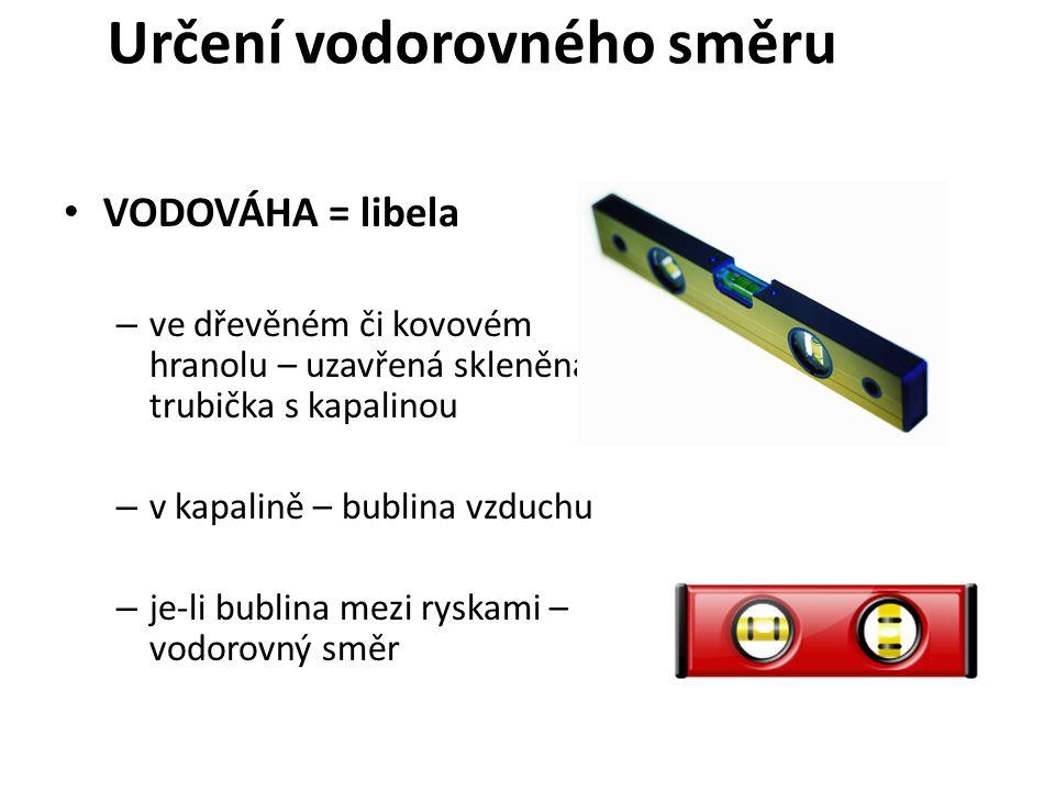 Určení vodorovného směru VODOVÁHA = libela – ve dřevěném či kovovém hranolu – uzavřená skleněná trubička s kapalinou – v kapalině – bublina vzduchu – je-li bublina mezi ryskami – vodorovný směr