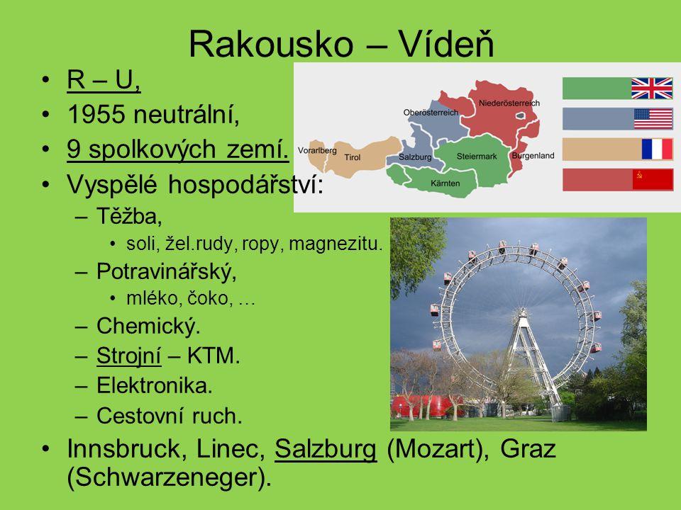 Rakousko – Vídeň R – U, 1955 neutrální, 9 spolkových zemí. Vyspělé hospodářství: –Těžba, soli, žel.rudy, ropy, magnezitu. –Potravinářský, mléko, čoko,