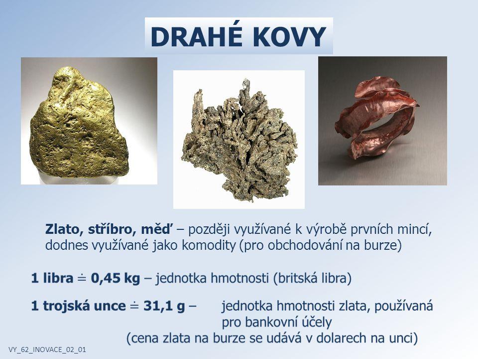 DRAHÉ KOVY Zlato, stříbro, měď – později využívané k výrobě prvních mincí, dodnes využívané jako komodity (pro obchodování na burze) VY_62_INOVACE_02_