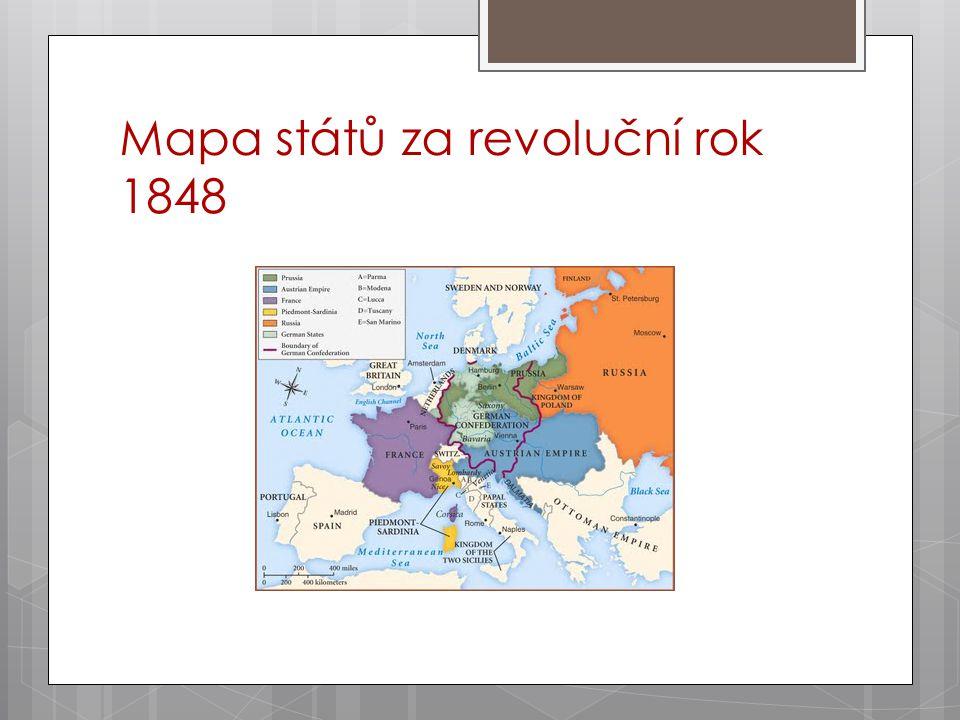 Mapa států za revoluční rok 1848