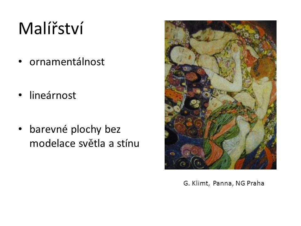 Malířství ornamentálnost lineárnost barevné plochy bez modelace světla a stínu G.