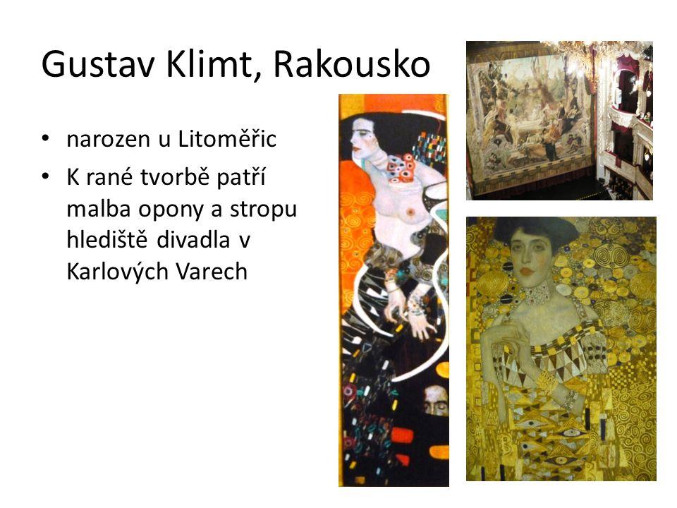 Gustav Klimt, Rakousko narozen u Litoměřic K rané tvorbě patří malba opony a stropu hlediště divadla v Karlových Varech
