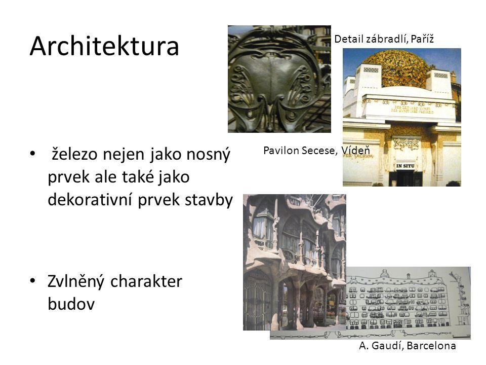 fasáda je zdobena plastickým ornamentem zdobné prvky z kovu, skla a keramiky zábradlí, balkony, mříže, okna s vitráží a leptaným sklem Pavilon Secese, průčelí, Vídeň