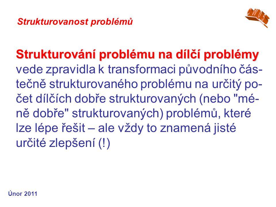 Strukturování problému na dílčí problémy Strukturování problému na dílčí problémy vede zpravidla k transformaci původního čás- tečně strukturovaného problému na určitý po- čet dílčích dobře strukturovaných (nebo mé- ně dobře strukturovaných) problémů, které lze lépe řešit – ale vždy to znamená jisté určité zlepšení (!) Strukturovanost problémů Únor 2011
