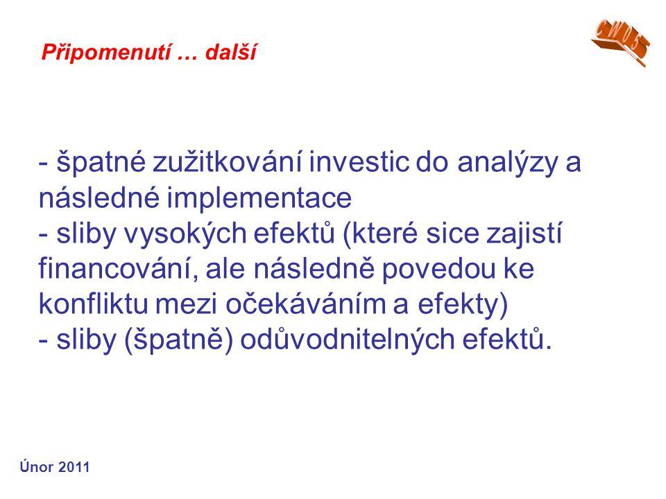 - špatné zužitkování investic do analýzy a následné implementace - sliby vysokých efektů (které sice zajistí financování, ale následně povedou ke konfliktu mezi očekáváním a efekty) - sliby (špatně) odůvodnitelných efektů.