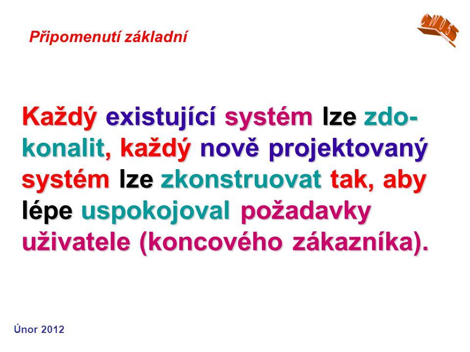 Každý existující systém lze zdo- konalit, každý nově projektovaný systém lze zkonstruovat tak, aby lépe uspokojoval požadavky uživatele (koncového zákazníka).