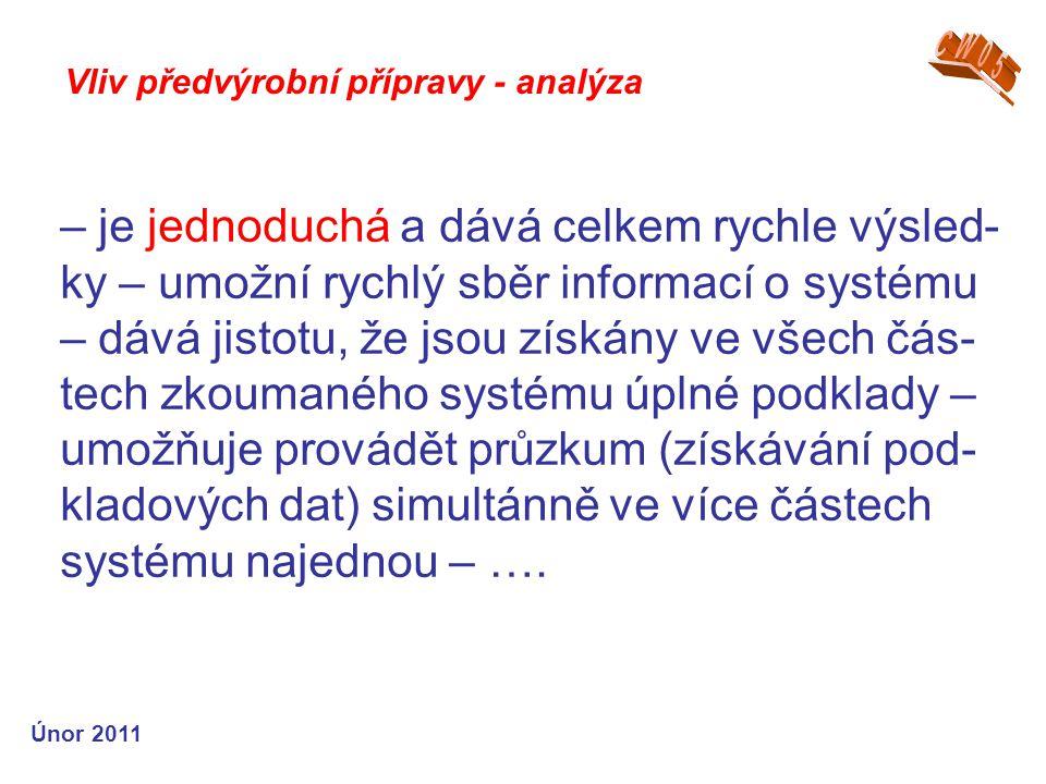 – je jednoduchá a dává celkem rychle výsled- ky – umožní rychlý sběr informací o systému – dává jistotu, že jsou získány ve všech čás- tech zkoumaného systému úplné podklady – umožňuje provádět průzkum (získávání pod- kladových dat) simultánně ve více částech systému najednou – ….