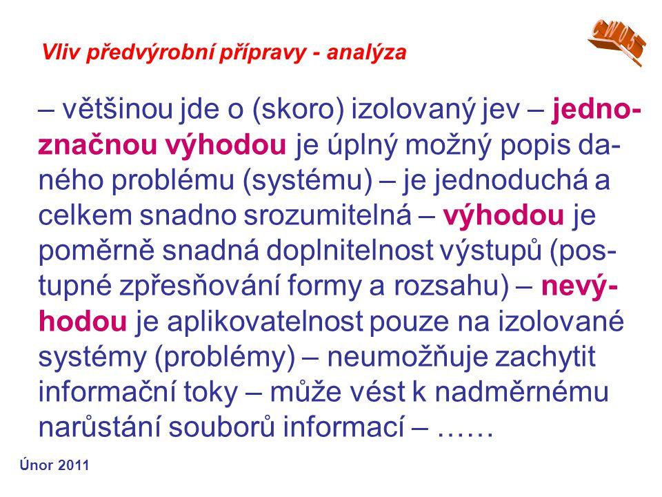 – většinou jde o (skoro) izolovaný jev – jedno- značnou výhodou je úplný možný popis da- ného problému (systému) – je jednoduchá a celkem snadno srozumitelná – výhodou je poměrně snadná doplnitelnost výstupů (pos- tupné zpřesňování formy a rozsahu) – nevý- hodou je aplikovatelnost pouze na izolované systémy (problémy) – neumožňuje zachytit informační toky – může vést k nadměrnému narůstání souborů informací – …… Vliv předvýrobní přípravy - analýza Únor 2011