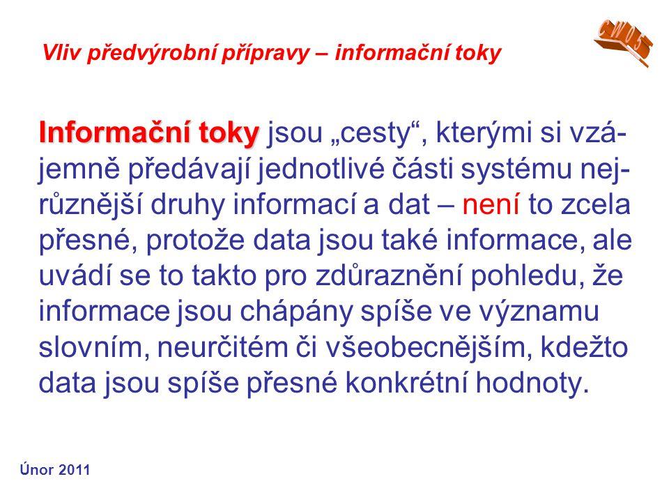 """Informační toky Informační toky jsou """"cesty , kterými si vzá- jemně předávají jednotlivé části systému nej- různější druhy informací a dat – není to zcela přesné, protože data jsou také informace, ale uvádí se to takto pro zdůraznění pohledu, že informace jsou chápány spíše ve významu slovním, neurčitém či všeobecnějším, kdežto data jsou spíše přesné konkrétní hodnoty."""
