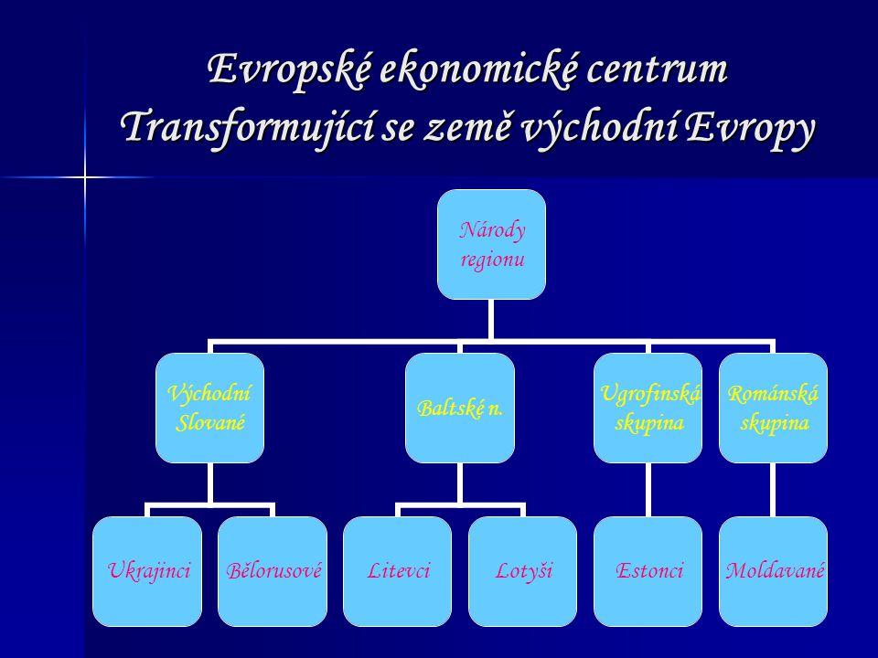 Evropské ekonomické centrum Transformující se země východní Evropy Národy regionu Východní Slované UkrajinciBělorusové Baltské n. LitevciLotyši Ugrofi