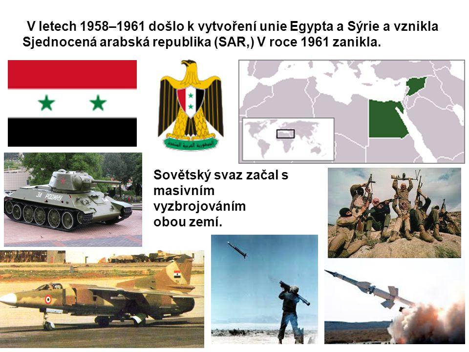 V letech 1958–1961 došlo k vytvoření unie Egypta a Sýrie a vznikla Sjednocená arabská republika (SAR,) V roce 1961 zanikla. Sovětský svaz začal s masi