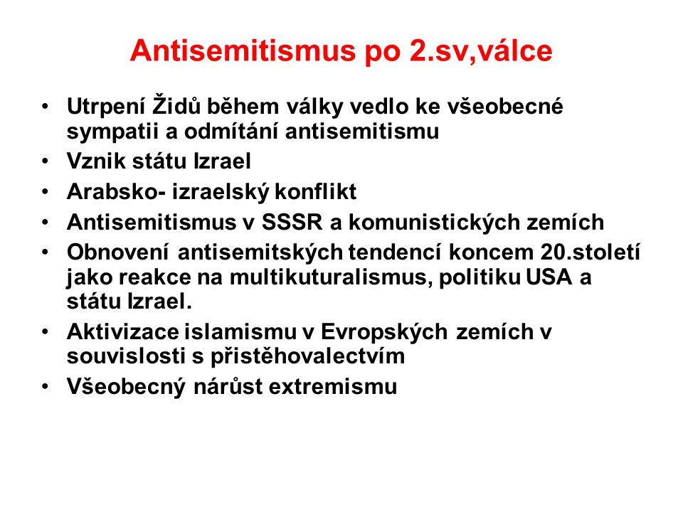 Antisemitismus po 2.sv,válce Utrpení Židů během války vedlo ke všeobecné sympatii a odmítání antisemitismu Vznik státu Izrael Arabsko- izraelský konfl