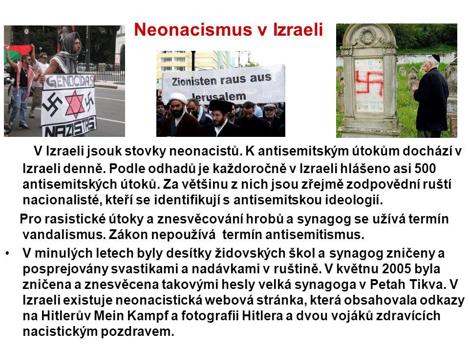 V Izraeli jsouk stovky neonacistů. K antisemitským útokům dochází v Izraeli denně. Podle odhadů je každoročně v Izraeli hlášeno asi 500 antisemitských