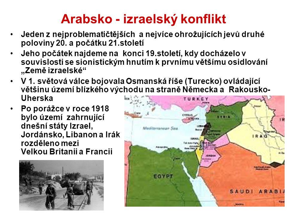 Arabsko - izraelský konflikt Jeden z nejproblematičtějších a nejvíce ohrožujících jevů druhé poloviny 20. a počátku 21.století Jeho počátek najdeme na