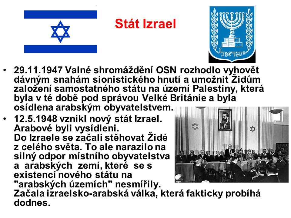Stát Izrael 29.11.1947 Valné shromáždění OSN rozhodlo vyhovět dávným snahám sionistického hnutí a umožnit Židům založení samostatného státu na území P