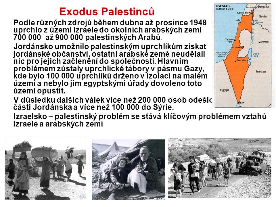 Exodus Palestinců Podle různých zdrojů během dubna až prosince 1948 uprchlo z území Izraele do okolních arabských zemí 700 000 až 900 000 palestinskýc