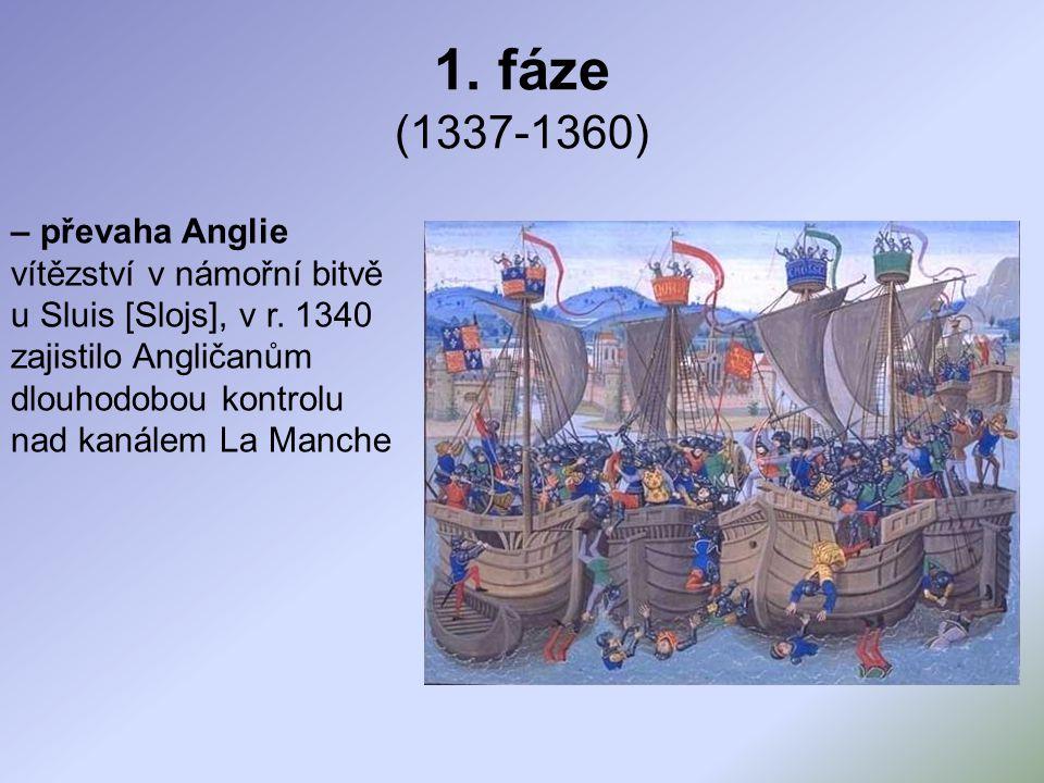 1.fáze (1337-1360) – převaha Anglie vítězství v námořní bitvě u Sluis [Slojs], v r.