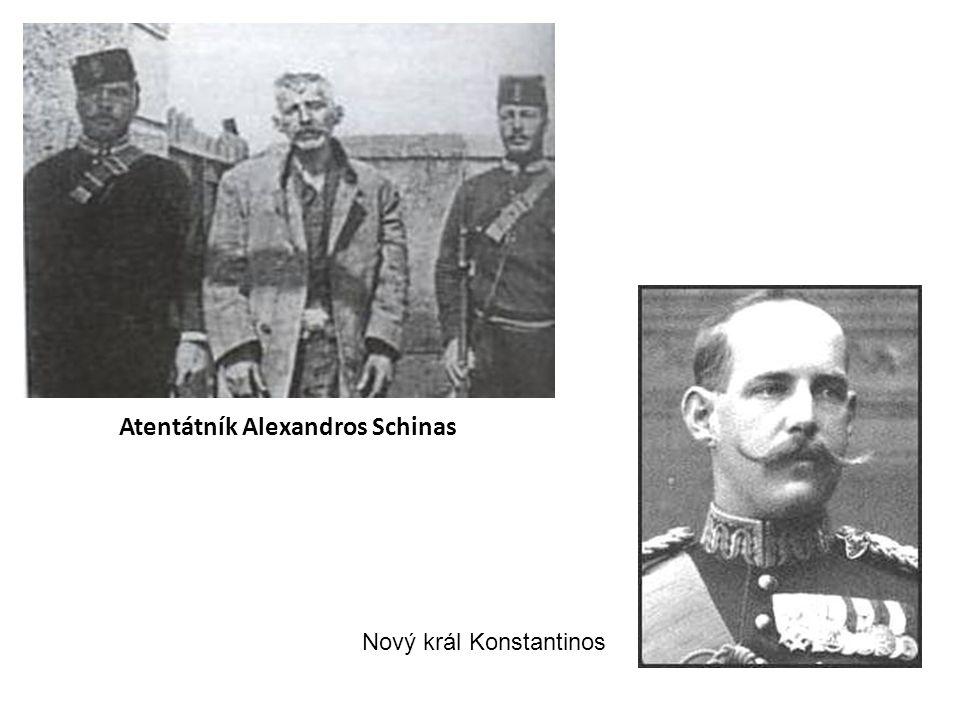 Atentátník Alexandros Schinas Nový král Konstantinos