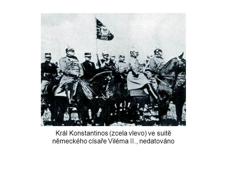 Král Konstantinos (zcela vlevo) ve suitě německého císaře Viléma II., nedatováno