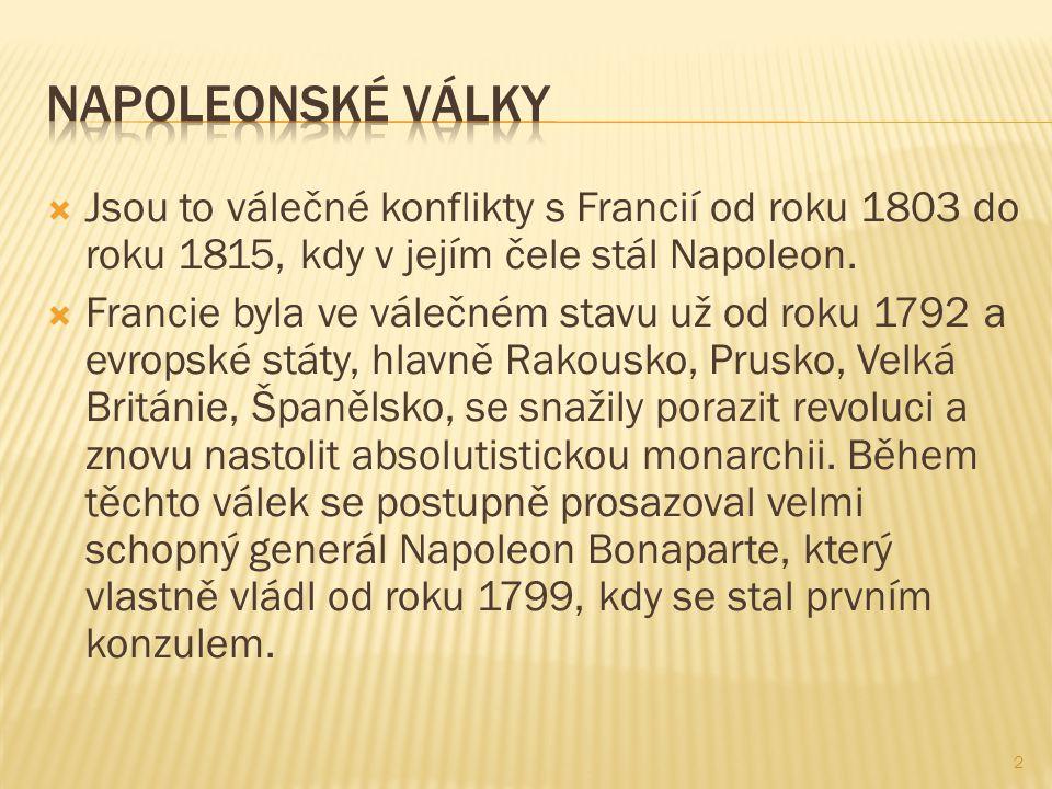  Jsou to válečné konflikty s Francií od roku 1803 do roku 1815, kdy v jejím čele stál Napoleon.