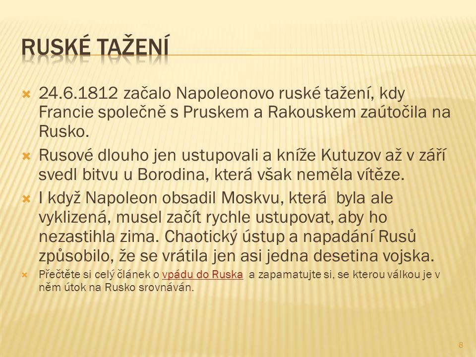  24.6.1812 začalo Napoleonovo ruské tažení, kdy Francie společně s Pruskem a Rakouskem zaútočila na Rusko.  Rusové dlouho jen ustupovali a kníže Kut